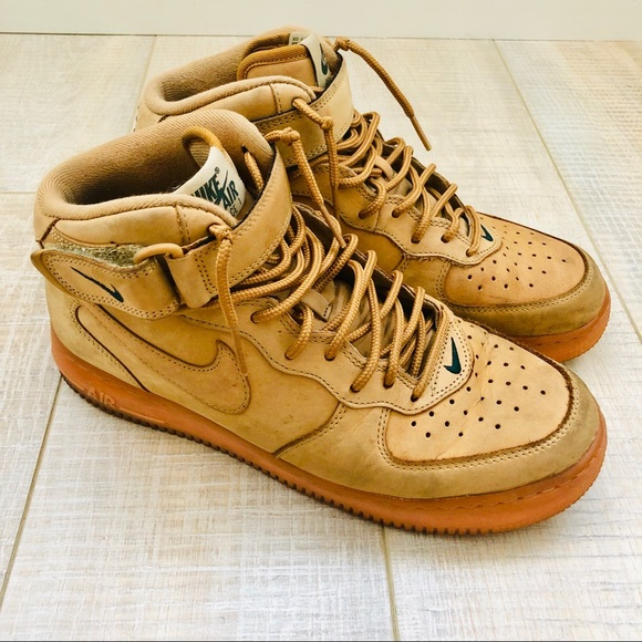 reputable site 59c06 f5d89 🧡✔️❤️ NIKE Air Force 1 Mid Top Flax Wheat Sneaker